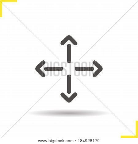 All directions movement arrows glyph icon. Drop shadow direction silhouette symbol. Negative space. Vector isolated illustration