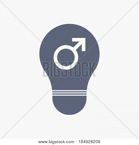 Isolated Light Bulb Icon With A Male Sign