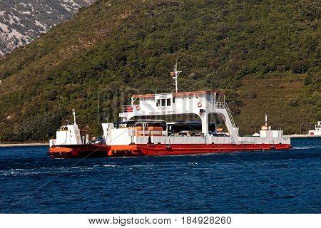 Lepetani, Montenegro - August, 2016: Ferry boat in Boka Kotor Bay from Lepetane to Kamenari in Montenegro