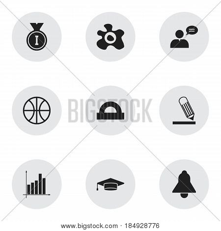 Set Of 9 Editable Science Icons. Includes Symbols Such As Graph, Semicircle Ruler, Bell And More. Can Be Used For Web, Mobile, UI And Infographic Design.