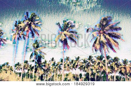 Faded tropical landscape with palm trees. Exotic island digital painting. Beautiful tropical nature. Coco palm trees on sky background. Party or wedding card backdrop. Tropic scene with coconut palms