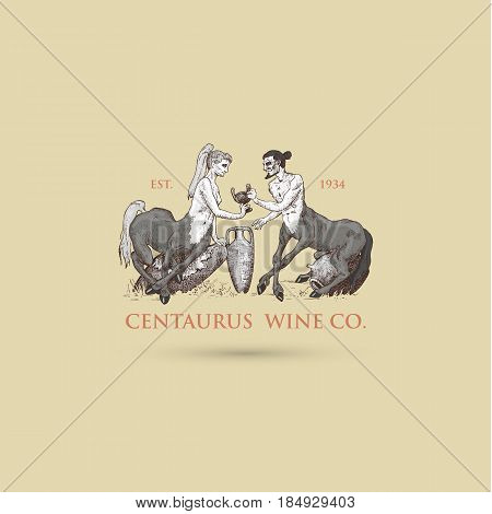 two Centaurus sharing wine logo illustration, hand drawn or engraved old looking fantastic, fairytale beasts half man with horse body, greek mythology.