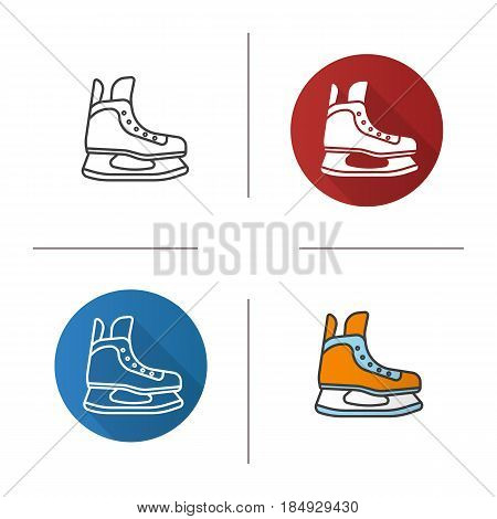 Ice skate icon. Flat design, linear and color styles. Hockey skate. Isolated vector illustrations