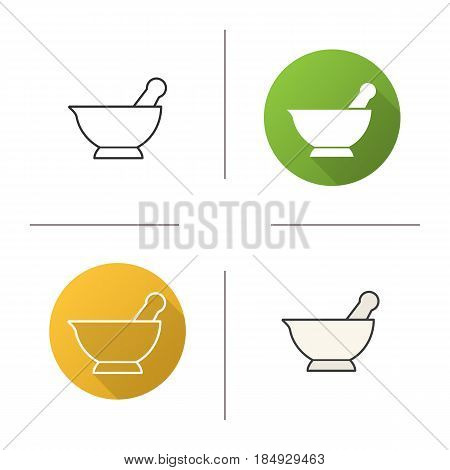 Mortar and pestle icon. Flat design, linear and color styles. Naturopathy. Alternative herbal medicine. Isolated vector illustrations