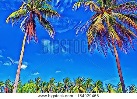 Colorful tropical landscape with palm trees. Sunny day on exotic island. Beautiful tropical nature. Coco palm trees on sky background. Party or wedding card backdrop. Tropic scene with coconut palms