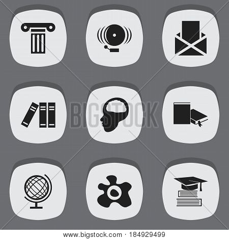 Set Of 9 Editable School Icons. Includes Symbols Such As Education, Pillar, Earth Planet And More. Can Be Used For Web, Mobile, UI And Infographic Design.