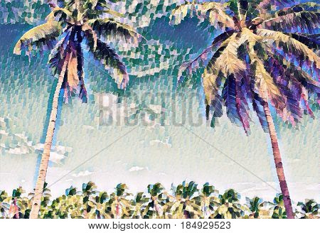 Creative tropical landscape with palm trees. Sunny day on exotic island. Beautiful tropical nature. Coco palm trees on sky background. Party or wedding card backdrop. Tropic scene with coconut palms