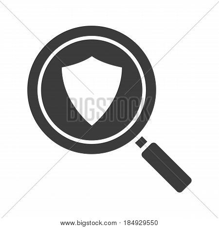 Antivirus program search glyph icon. Cyber security silhouette symbol. Magnifying glass with protection shield. Negative space. Vector isolated illustration