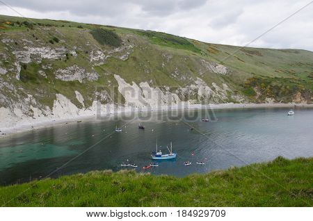 Lulworth Cove Dorset United Kingdom -22 April 2017: Fishing boat in Lulworth Cove Dorset