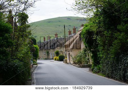 Lulworth Dorset United Kingdom -22 April 2017: English Village Street with cottages