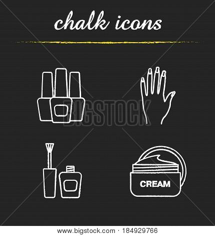 Manicure chalk icons set. Nail polish bottles, woman's hand with manicure, cream jar. Isolated vector chalkboard illustrations