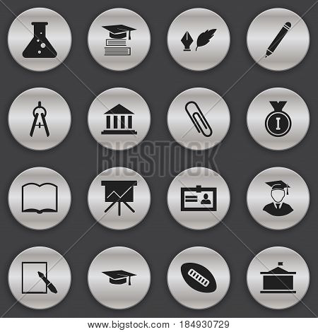 Set Of 16 Editable Science Icons. Includes Symbols Such As Literature, Book, Oval Ball And More. Can Be Used For Web, Mobile, UI And Infographic Design.