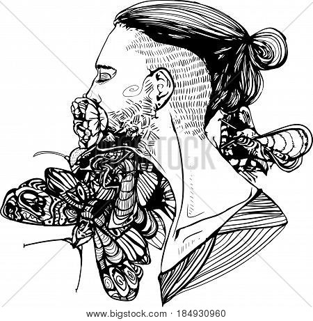 man with mandun portrait with flower in his mouth and butterflys at the backgrownd vector graphic
