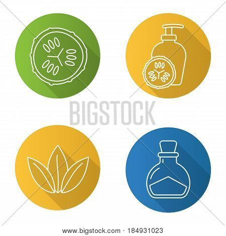 Spa salon flat linear long shadow icons set. Cucumber slicea and lotion container, salt bottle, loose leaves. Vector line illustration