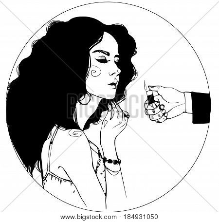 black hair girl portrait with cigarette vector clipart