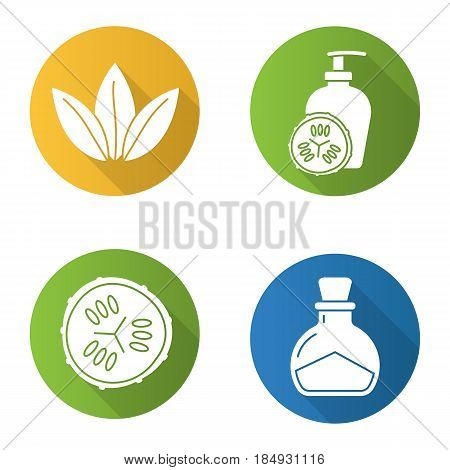 Spa salon flat design long shadow icons set. Cucumber slice and lotion container, salt bottle, loose leaves. Vector silhouette illustration