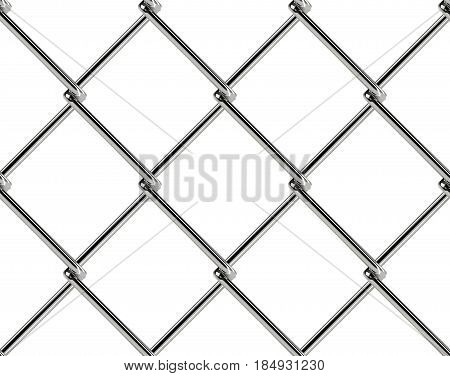 Chain link fence seamless pattern. Industrial style wallpaper. Realistic geometric texture. Graphic design element for web site background, catalog. Steel wire wall on white. Vector illustration