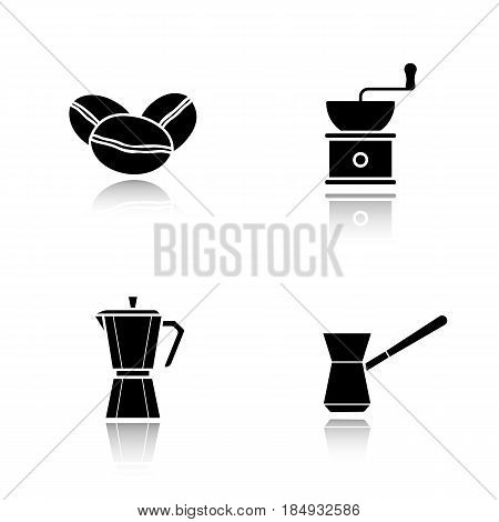Coffee brewing equipment. Drop shadow black icons set. Moka pot, classic coffee maker, turkish cezve, grinder and beans. Isolated vector illustrations
