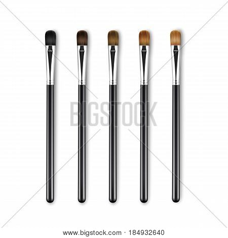 Vector Set of Clean Professional Makeup Concealer Eye Shadow Brushes with Different Black Brown Bristle and Black Handles Isolated on White Background