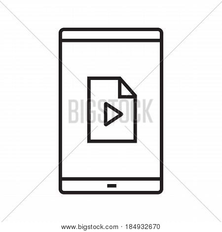 Smartphone media file linear icon. Thin line illustration. Smart phone with multimedia file contour symbol. Vector isolated outline drawing