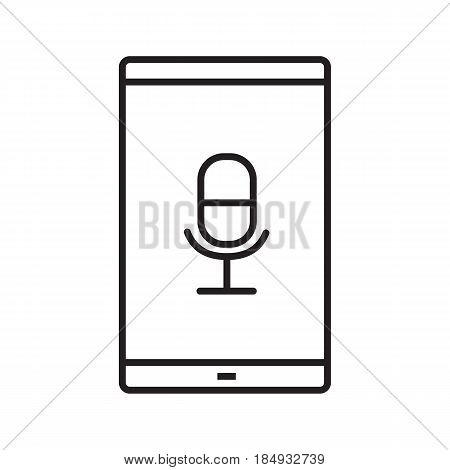 Smartphone voice recorder linear icon. Thin line illustration. Smart phone with microphone contour symbol. Vector isolated outline drawing