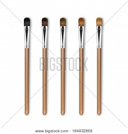 Vector Set of Clean Professional Makeup Concealer Eye Shadow Brushes with Different Black Brown Bristle and Wooden Handles Isolated on White Background