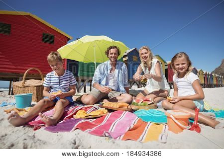 Portrait of happy family sitting together on blanket at beach during sunny day