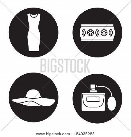 Women's accessories icons set. Sleeveless evening dress, metal bracelet, hat, perfume. Vector white silhouettes illustrations in black circles