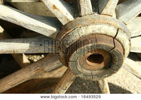 Wooden cart wheel.