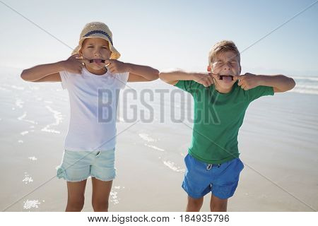 Siblings making teasing faces at beach during sunny day