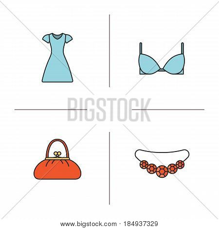 Women's accessories color icons set. Gemstone necklace, sun frock, purse, bra. Isolated vector illustrations
