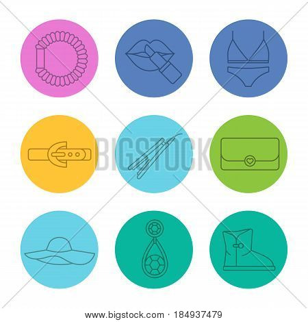 Women's accessories linear icons set. Underwear, hair straightener and scrunchy, clutch, earring, leather belt, boot, hat, lipstick. Thin line contour symbols on color circles. Vector illustrations