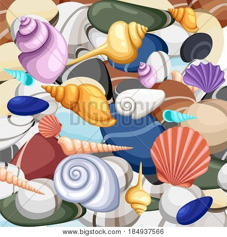 Stones Frame Of Sea Shells, Vector Illustration.summer Concept With Shells And Sea Stars. Round Comp