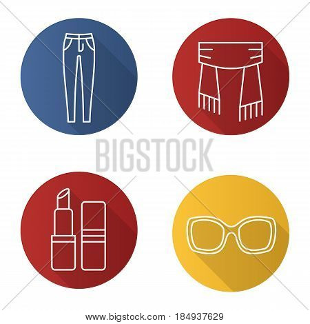 Women's accessories flat linear long shadow icons set. Skinny jeans, scarf, lipstick, sunglasses. Vector line illustration