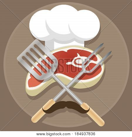 Grill and Barbecue cartoon style illustration with the fresh meat loaf, cook toque, crossed fork and kitchen spade and mustache