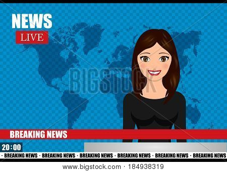 Newscaster woman reports breaking news. News vector illustration. Media on television concept.
