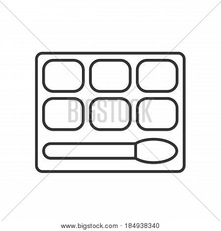 Eye shadows linear icon. Thin line illustration. Eye shadows box with brush contour symbol. Vector isolated outline drawing