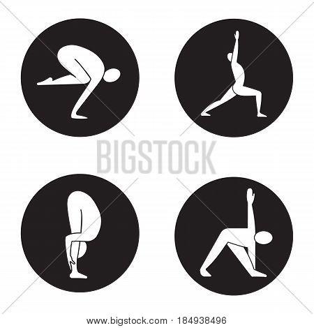 Yoga asanas icons set. Bakasana, virabhadrasana, uttanasana, trikonasana yoga positions. Vector white silhouettes illustrations in black circles