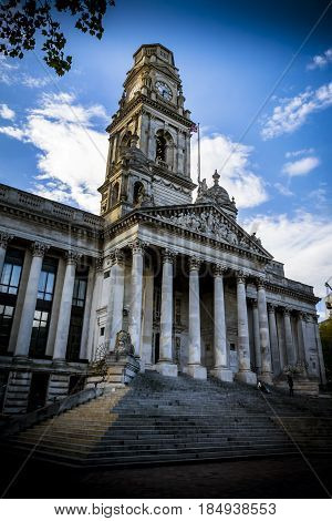Portsmouth Guildhall in early evening sunshine home of the Pompey chimes