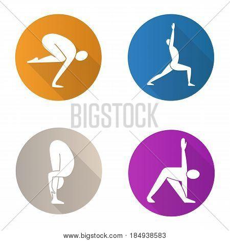 Yoga asanas flat design long shadow icons set. Bakasana, virabhadrasana, uttanasana, trikonasana yoga positions. Vector silhouette illustration