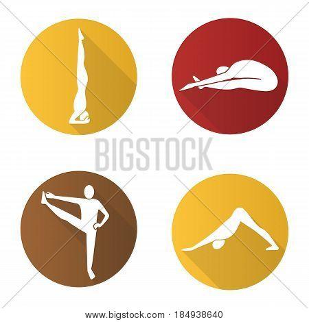 Yoga asanas flat design long shadow icons set. Salamba sirsasana, paschimottanasana, utthita hasta padangusthasana, adho mukha svanasana. Yoga positions. Vector silhouette illustration