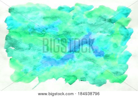 Colorful Blue Green Turquoise Watercolor Background For Wallpaper. Aquarelle Bright Color Illustrati