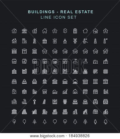buildings Line Icon Set. Fully editable Illustration vector