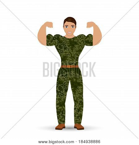 Muscular soldier.  isolated on background. Vector illustration. Eps 10.