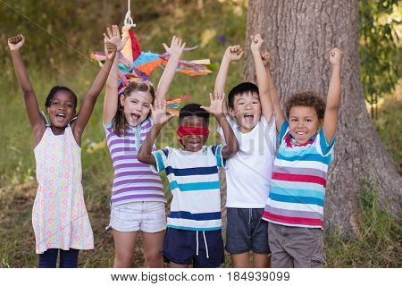 Happy friends cheering with blindfolded boy at campsite
