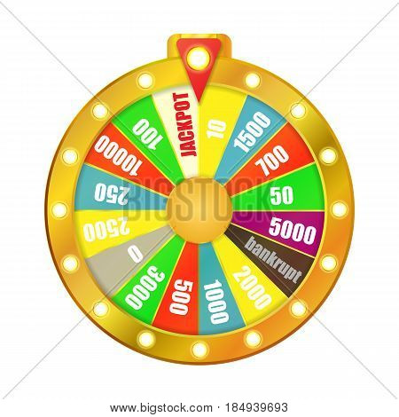 Wheel of game isolated on white background. Vector illustration.
