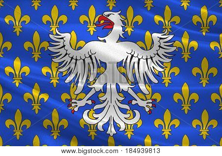Flag of Le Puy-en-Velay is a commune in the Haute-Loire department in south-central France. 3D illustration