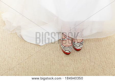 Fashion contrast clothes clothing concept. Woman wearing zebra pattern high heels and white wedding dress.