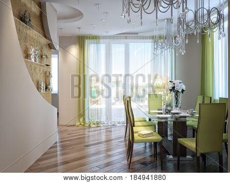 Modern Urban Contemporary Dining room and Kitchen. 3d render