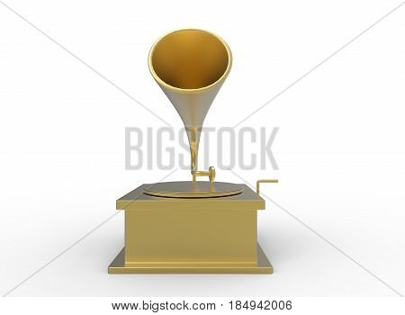 3d illustration of old gramophone record. white background isolated. icon for game web.